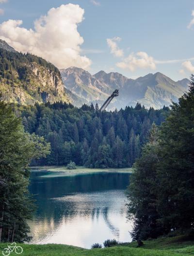 Sprungschanze beim Freibergsee in Deutschland